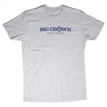 Big Crown Records Logo T-Shirt, blue on grey tee.