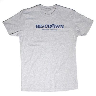 Big Crown Records Logo T-Shirt, blue on grey tee.