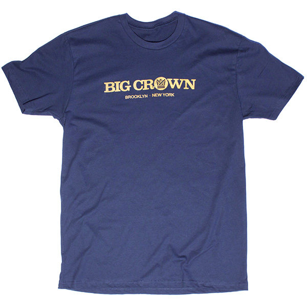 Big Crown Records Logo T-Shirt, gold on navy tee.