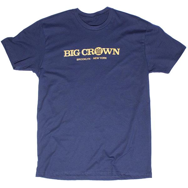big crown logo shirt navy gold big crown records