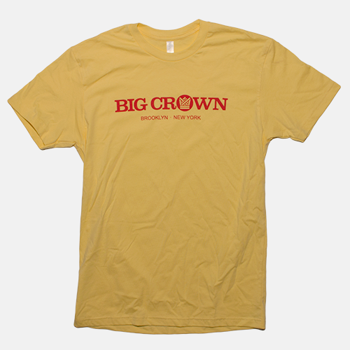 BIG CROWN RECORDS YELLOW LOGO TEE SHIRT