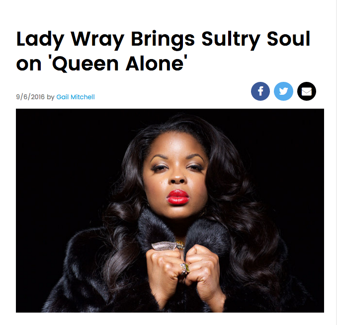 "Lady Wray Brings Sultry Soul on ""Queen Alone"" and premieres second single ""Smiling"" via Billboard"