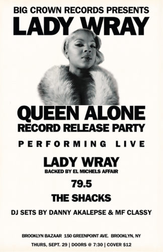 "Poster for the Lady Wray ""Queen Alone"" album release party in Brooklyn"